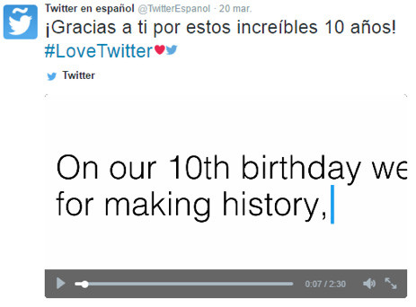 Redes Sociales: Así celebró Twitter sus 10 años - Agencia de Marketing Digital, México | Marketing 4U - 2